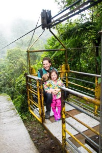 "In the yellow metal ""tarabita"" (cable car) is in Mindo, Ecuador (the cloud forest)"
