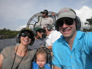 Taking an airboat ride with Jean's parents in the FL Everglades, Nov 2014.