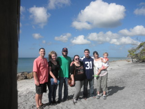 On the beach at the Gulf of Mexico while visiting Jean's parents in Venice, FL. Nov 2014.