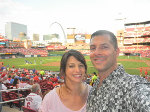 Jean and I at Busch Stadium to watch the Cards beat my lovable losers, the Cubs. May 2015.