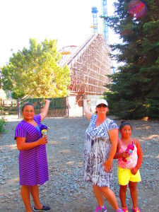 My girls after a rollercoaster ride at Silverwood