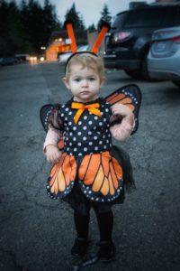 April's daughter, Madelyn, in her monarch butterfly costume for Halloween -- her first time trick-or-treating.