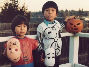 First Halloween in the U.S. with my brother, Shin