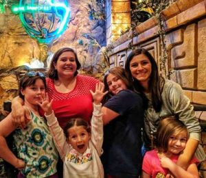 Sister Brittany and I with our nieces at the Rain Forest Cafe 2017