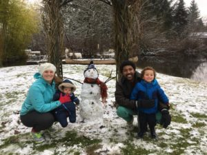 Tarin and family playing in the snow