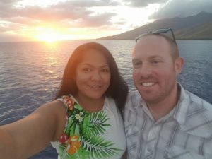 Andralia-Lei and Brian on sunset cruise
