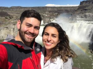 Daniela with her husband at Shoshone Falls