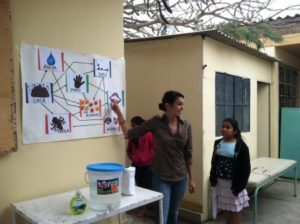 "Teaching a ""hand-washing"" lesson at the health post in Peru"